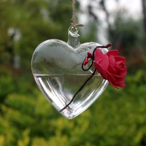 SOLEDI Clear Heart Glass Hanging Vase Bottle Terrarium Container Plant Pot Flower DIY Wedding Garden Decor