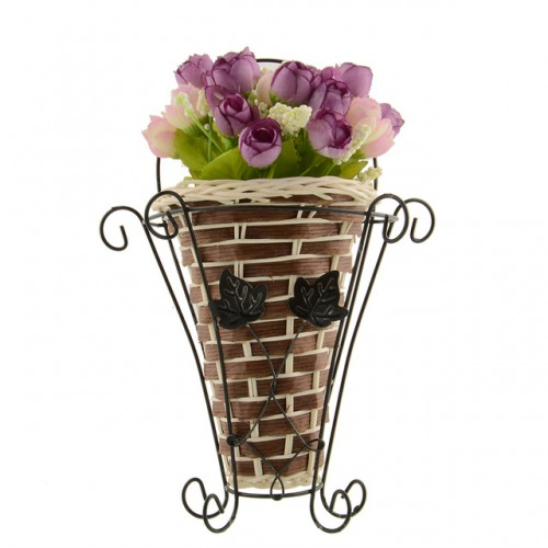 Weave Vine Mural Wall Hanging Flower Basker Artificial Flower Plant Ivy Vase Flower Arrangment Container Weeding.