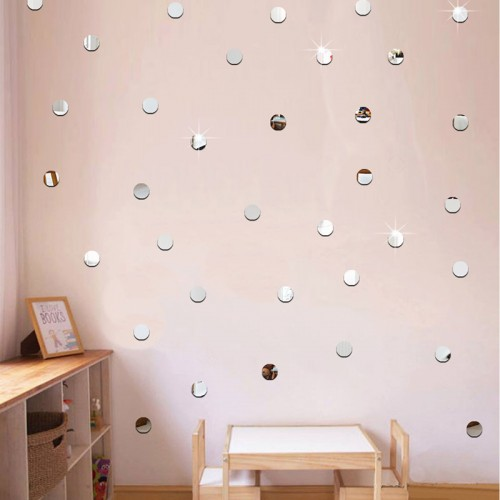 100pcs lot 2cm 3D Diy Acrylic Mirror Wall Sticker Heart Round Shape Stickers Decal Mosaic Mirror