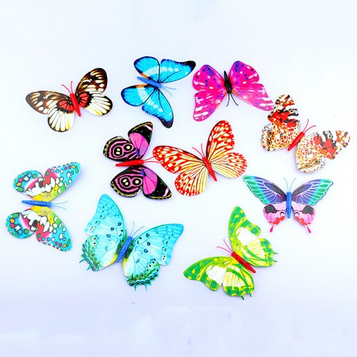 12 Pcs PVC Glow Butterfly 3D Wall Mirror Stickers Wedding Decor Poster for Kids Rooms Adhesive