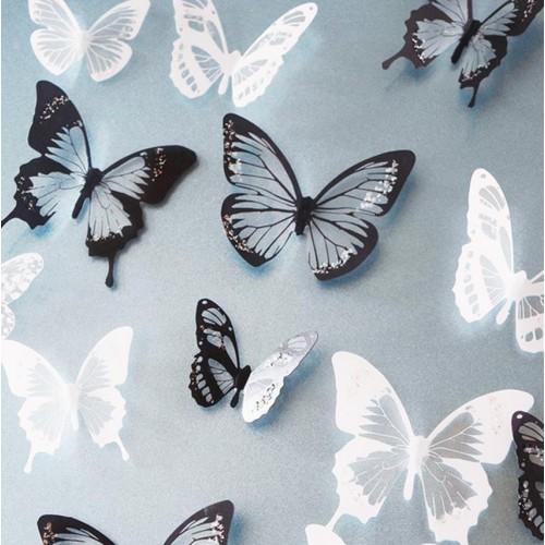 18pcs Black White Crystal Butterfly Sticker Art Decal Home Decor Wall Mural Stickers DIY Decal Christmas