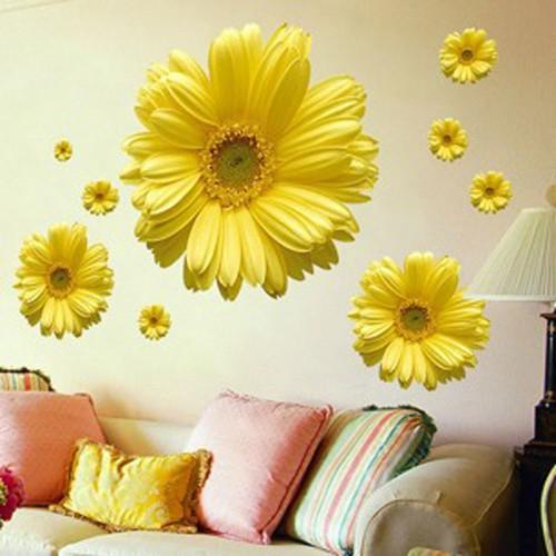 1Set Yellow Flowers Decorative Combination DIY Wall Sticker Decor Chrysanthemum Daisy Home Bedroom Wall