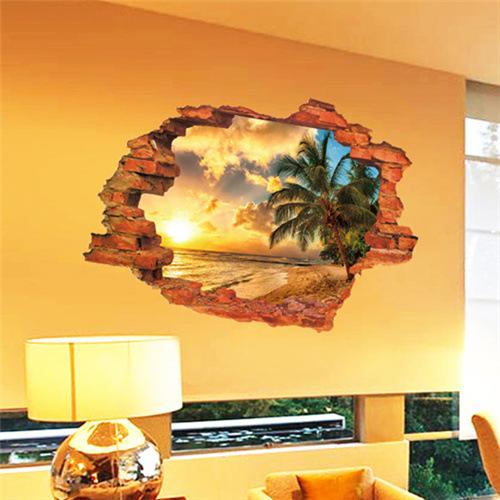 3D Broken Wall Sunset Scenery Seascape Island Coconut Trees Household