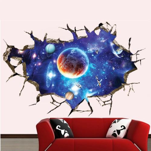 3D Galaxy Planet Space Wall Sticker For Kids Boys Bedroom Art Vinyl Wall Decal Peel