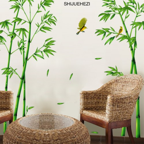 Bamboo Forest Wall Stickers Vinyl DIY Decorative Mural Art for Living Room Cabinet