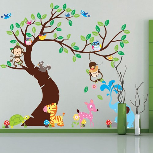Cartoon Animal Tree wallpaper