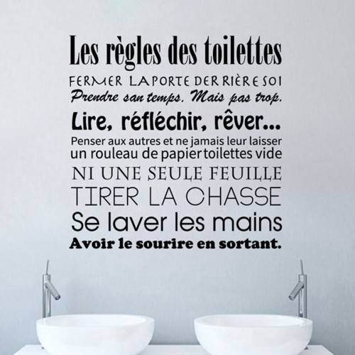 French bathroom rules wall stickers - Stickers muraux les regles de la maison ...