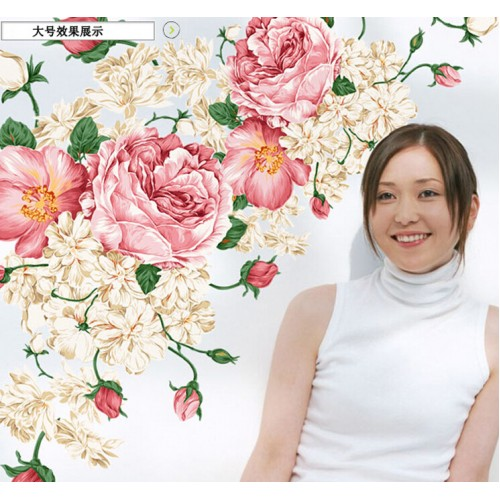 NEW 60 90 cm DIY Home Decor Wall Art vinyl removable adhesives peony flower wall