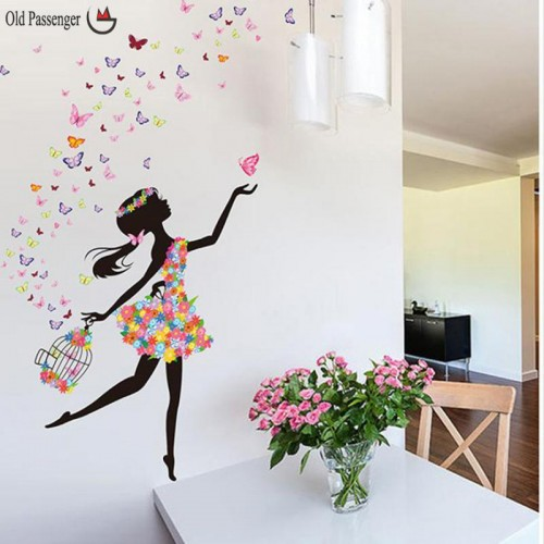 Old Passenger Personality Fairies Girl Butterfly Flowers Wall Stickers