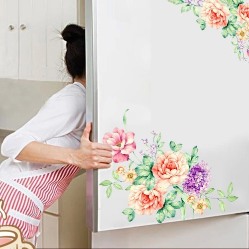 Peony Flowers Wall Stickers Art Home Decor PVC Removable vinyl wall decals for kids living