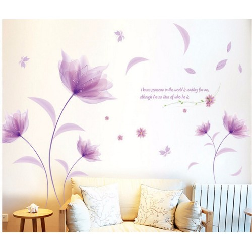Pink Lily Flower Petal Removable Wall Sticker Bedroom Living Room