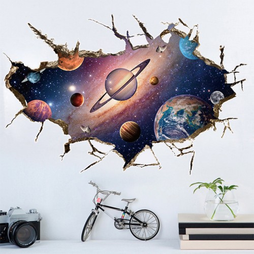 Removable 3D Planet Wall Sticker Waterproof Vinyl Art Mural Decal Universe Star Wall Paper For Kids