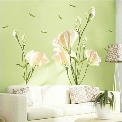 Removable PVC Large Wall Sticker Lily Mural Art Vinyl Flower Room Home Decor