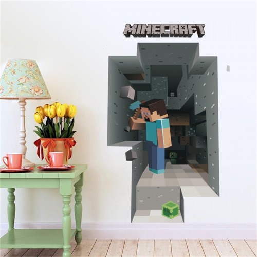 Removabled 3D Wallpaper Decals Minecraft Wall Sticker