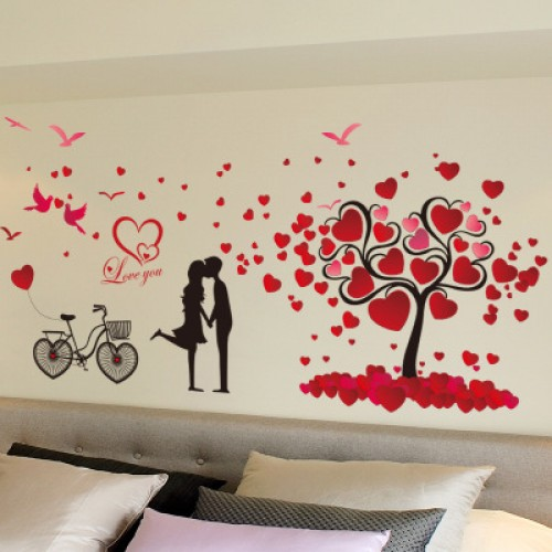 Romantic love tree couple birds bicycle removable wall sticker for wedding bedroom bedside mural
