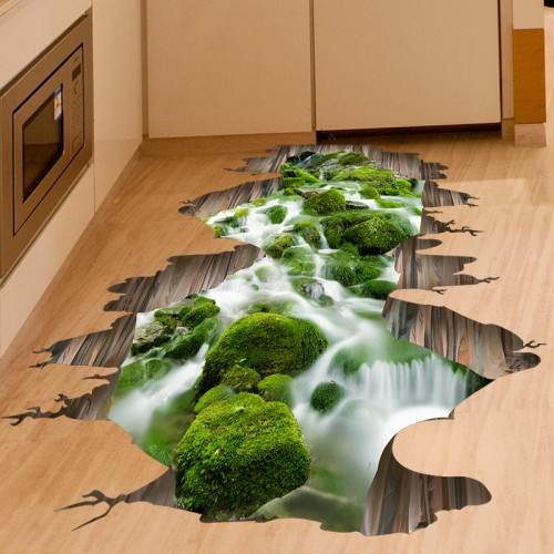 SHIJUEHEZI 3D Creek Floor Stickers PVC Material Green Stream Decals for Kids Room Living Room