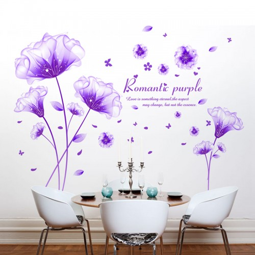 SHIJUEHEZI Flower Wall Sticker Purple Color Romantic Vinyl Material Removable Living Room Decorative Mural Art