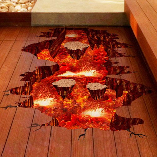 SHIJUEHEZI Magma 3D Wall Sticker Home Decor Living Room Bedroom Floor Decoration Removable Vinyl Material