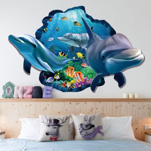 Underwater Fish Dolphin 3d Vivid Window Wall Stickers DIY Wall decals Bathroom Living Room Bedroom Home