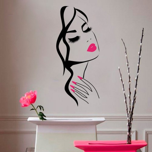 wall decal beauty salon manicure nail salon hand girl face. Black Bedroom Furniture Sets. Home Design Ideas