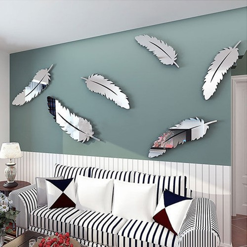 Wall Sticker 3D Feathers Mirror Wall Stickers Wallpaper DIY Home Decal Mural Room Decoration