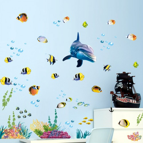 Waterproof bathroom kitchen wall sticker ocean deep water sea home decor stickers dolphin fish decorative decal