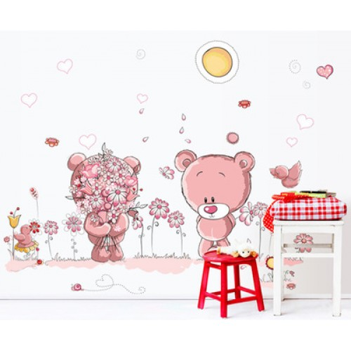 Lovely cute bear wall stickers children room home decor for Baby shower wall decoration