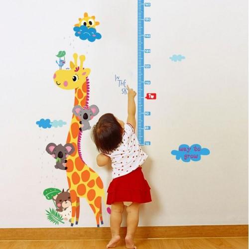 muursticker interieur giraf hoogte heerser decoratie kamer decals muur art sticker