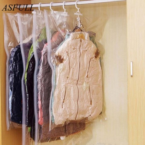 ASFULL Can Hang Compression Bag Vacuum For Foldable Clothes Transparent Edge Sealed Bags To Save Organizer