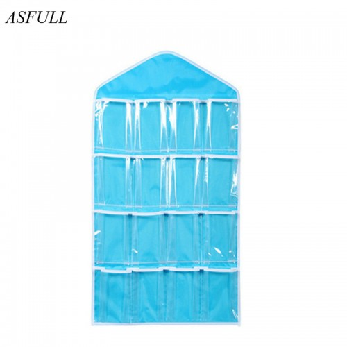 ASFULL Clear 16 Pockets Shoe Socks Underwear Toy Slippers Jewelry Sorting Storage Bag Door Wall Hanging