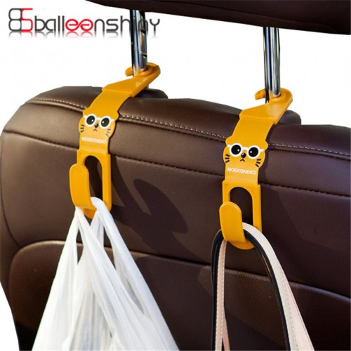 BalleenShiny 2Pcs lot Cute Car Back Seat Hanger Storage Hook Car Accessories Sundries Hanger Organizer Holder