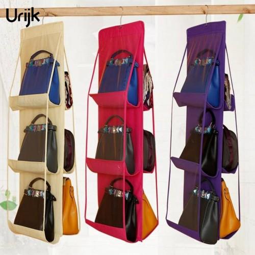 Urijk Hanging Organizers Storage for Purse Handbag Organizer Tote Bag Storage Organizer Pocket Hangers Home Closet