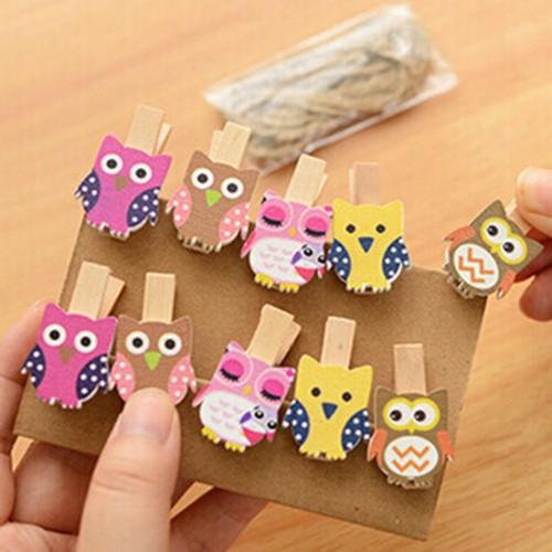 10pcs bag Cute Mini owl Wooden Clothes Photo Paper Peg Pin Clothespin Craft Food Postcard Clips