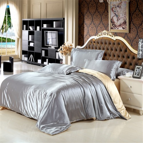 100 Natural Silk Bedding Set With Duvet Cover Bed Sheet Pillowcase Luxury 4pcs Satin Bedding Bed