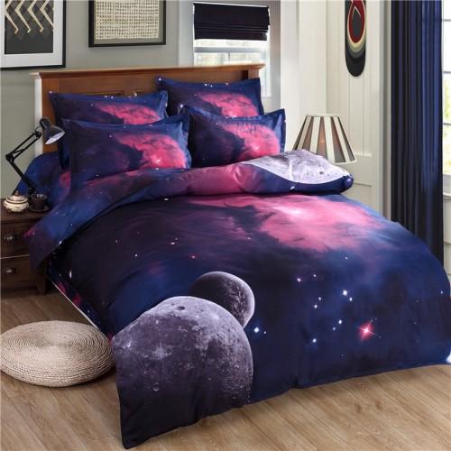 3d Galaxy Bedding Set Duvet Cover Set Universe Outer Space Themed pillowcase duvet cover flat Sheet