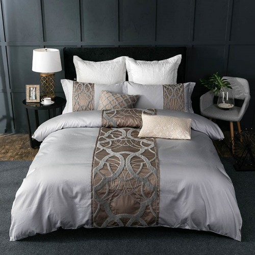 4 7Pcs Silver Grey luxury Egyptian cotton bedding set queen king bed set Chinese embroidery duvet