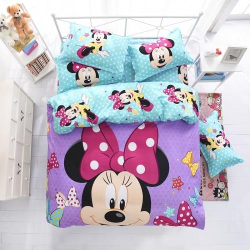 Disney mickey children bedding set queen full single size duvet cover sheet pillow case bed linen