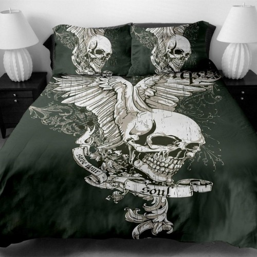 Fanaijia skull Bedding Set King size Bohemian skull Print Duvet Cover set with pillowcase AU Queen