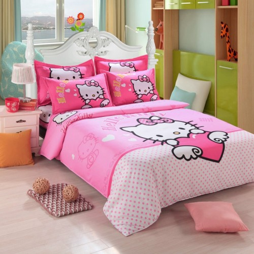 Hello Kitty Bedding Set Children Cotton Bed Sheets Hello Kitty Duvet Cover Bed Sheet Pillowcase Twin