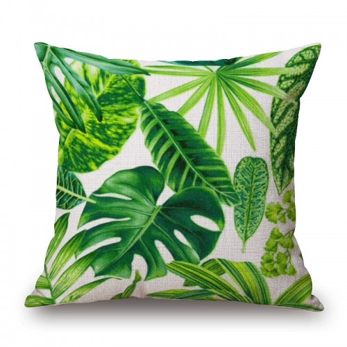 New Green Tropical Plant Tree Leaves Pillow Cover Fresh Throw Pillow Case Home Hotel Usage