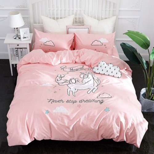 New Pink Unicorn bedding sets Embroidery bed set double Twin queen king size duvet cover bed