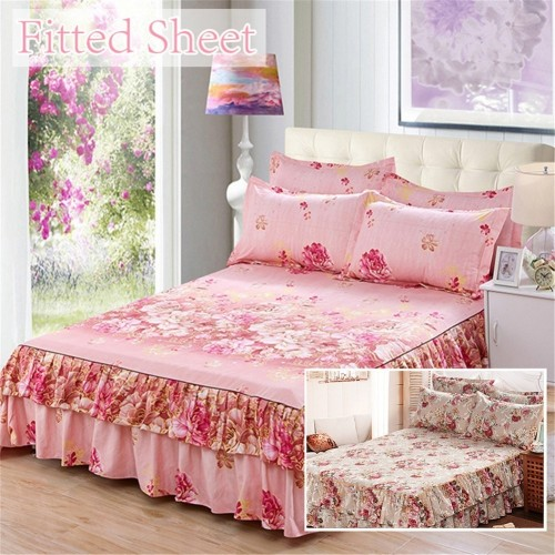 New Style Sanding Thickened Bed Skirt Dual Layers Bed Cover Fitted Sheet Queen Bed Skirt Dust