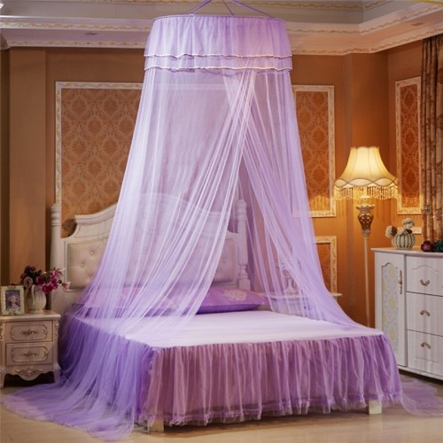 Princess Hanging Round Lace Canopy Bed Netting Comfy Student Dome Mosquito Net for Crib Twin Full