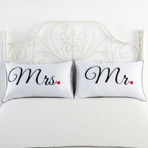White Black Heart Skull Printing Couple Pillow Case Home Decorative Pillow Cover Pillowcases 2pcs lot 48x74cm