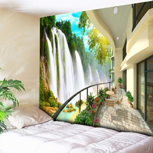 3D Waterfall Tapestry Nature Mountain Indian Mandala Tapestry Wall Hanging Tapestries Boho Bedroom Wall Rug Couch