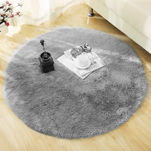 Fluffy Round Rug Carpets for Living Room Decor Faux Fur Carpet Kids Room Long Plush Rugs