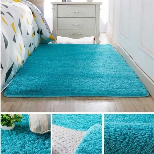 Living room coffee table blanket Nordic style long hair carpet bedroom bedside mat Thickened washed silk