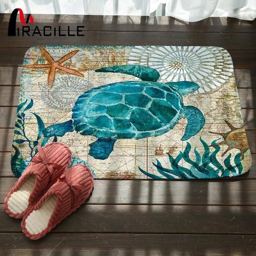 Miracille Marine Style Door Mat Floor Carpet for Living Room Sea Turtle Pattern Coral Fleece Rug