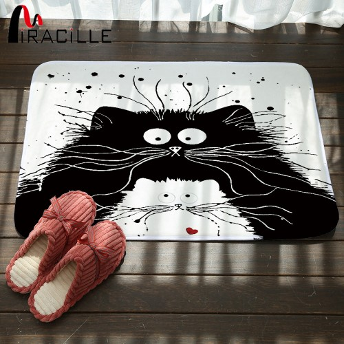 Miracille Modern Cartoon Black White Cat Printed Door Mats Anti Slip Mat Hallway Bathroom Living Room