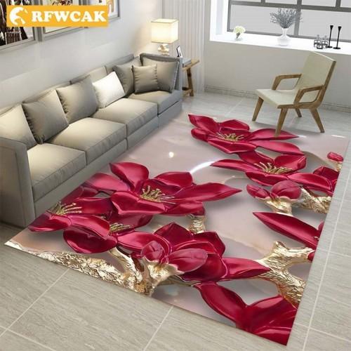 RFWCAK Modern 3D Printing Rectangle Carpet Hallway Doormat Anti Slip Bathroom Carpets Kids Room Absorb Water